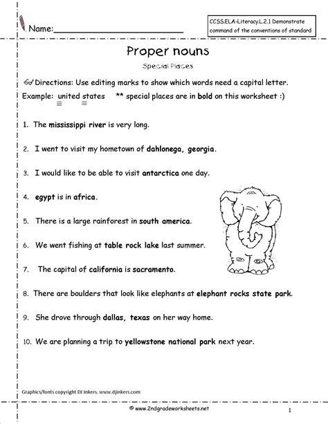 proper nouns worksheet language literacy