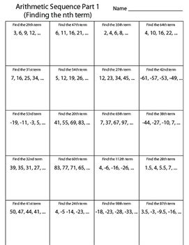 arithmetic sequence worksheet finding the nth term by kevin wilda