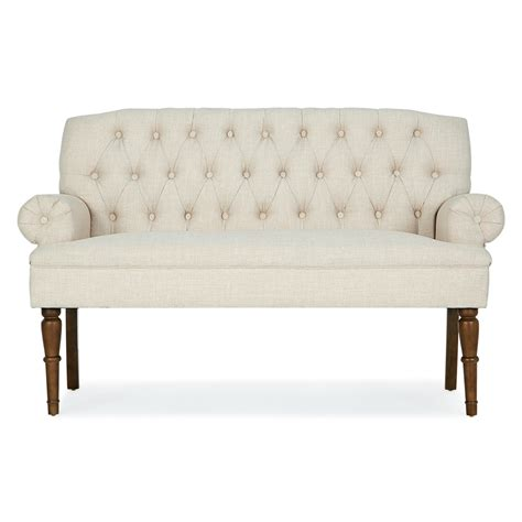 Button Tufted Settee by Button Tufted Settee Vintage Sofa Bench W Linen Fabric