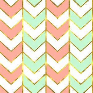 Gilded Herringbone In Shades Of Mint And Light Coral