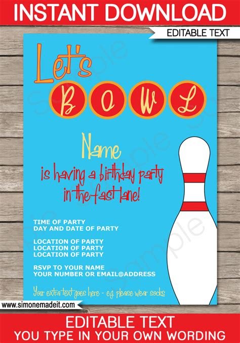 bowling party invitations template birthday party