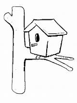Coloring Bird Pages Simple Birdhouse Designlooter Drawings 04kb 800px Popular sketch template