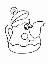 Coloring Teapot Pages Tea Pot Printable Children Clip Funny Colouring Sheet Cups Cup Template Fullsize Preschool Adults sketch template