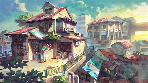 Anime House Wallpaper - city house anime malaysia wallpapers hd desktop and