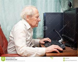 Old Man Working On Computer Stock Image - Image of casual ...