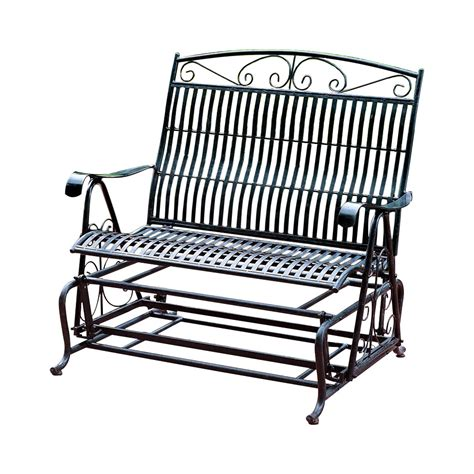 three posts snowberry iron patio glider bench