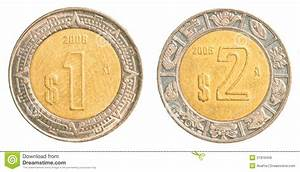 One  U0026 Two Mexican Peso Coins Stock Image