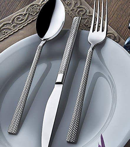 flatware stainless steel silverware hammered olinda sets tableware amazon sirma forks service 1810 piece spoons knife ten pcs cutlery galleon