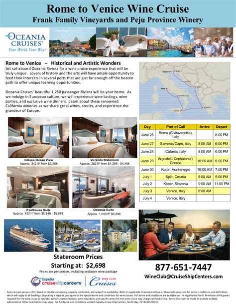Frank Family and Peju Wine Cruise Flyer 2 - Expedia Wine ...