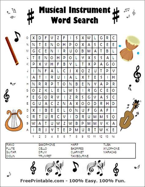 printable word search musical instruments word search new calendar template site