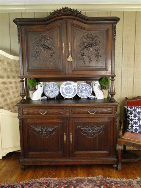 antique french dark oak rose hutch china buffet carving