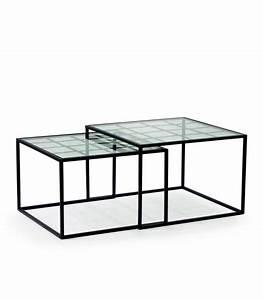 Table De Salon Alinea : set de 2 tables basses gigognes en m tal noir et verre ~ Premium-room.com Idées de Décoration