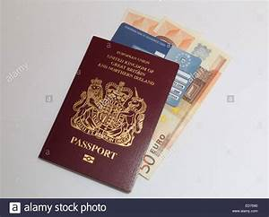 uk passport euro currency and eu health card concept With documents to go to uk