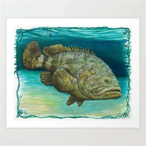 grouper goliath amber marine society6 watercolor painting