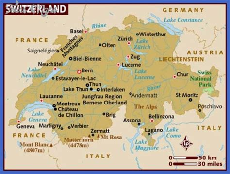 Rhythm And Alps Travel Map Directions And Location Switzerland Map Toursmaps Com