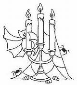 Candelabra Halloween Template Coloring Pages Bat Embroidery Shrink sketch template