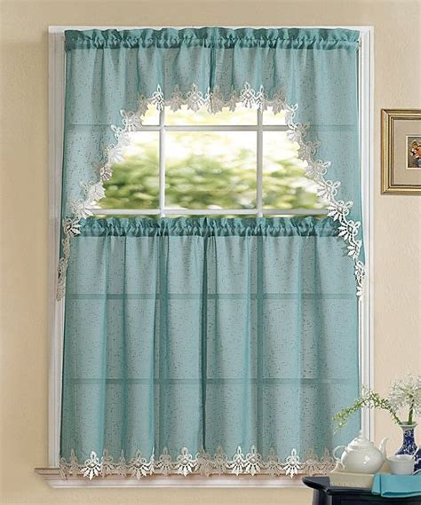 blue white lace sheer valance curtain panel set