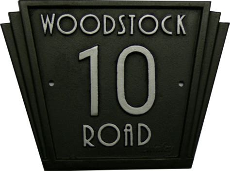 Cast iron house number name sign Art deco style by Lumley