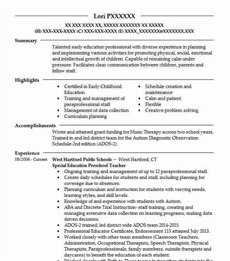 Special Education Resume by Special Education Preschool Resume Sle Livecareer