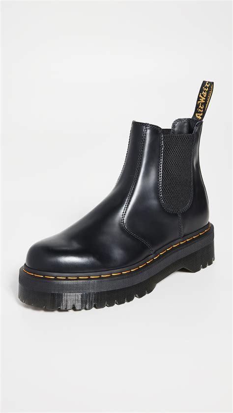 dr martens leather  quad chelsea boots  black  men lyst