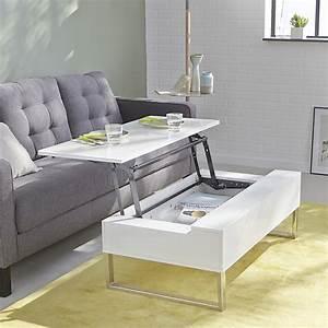 table basse blanche avec tablette relevable novy With meuble salle À manger avec table basse de salon