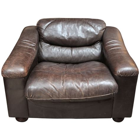 Leather Armchairs Sale by Plush Low Leather Armchair Circa 1900 For Sale At 1stdibs