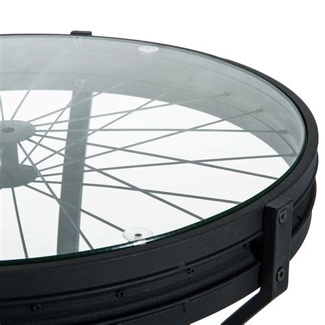 22 round glass table top homcom 22 round metal glass top bicycle wheel accent end