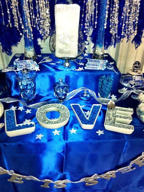 My wedding candy buffet! Blue, silver, & white! | Blue ...