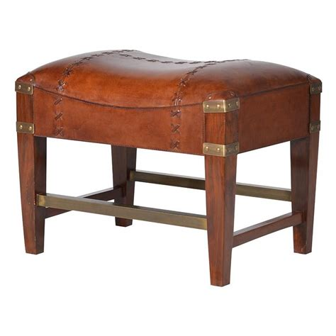 Jaipur Tan Leather Low Stool  Mulberry Moon