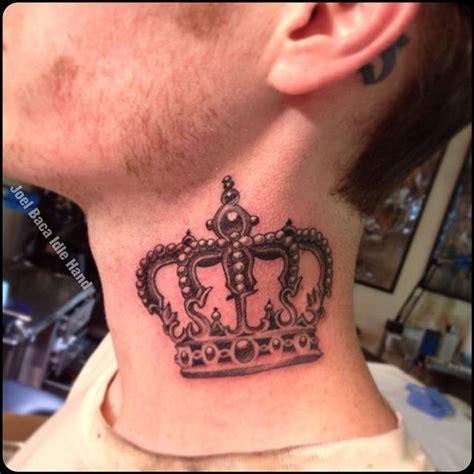 black  grey crown tattoo  man side neck