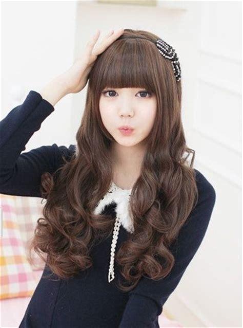 korean girls wig long big wave fluffy neat