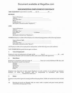 housekeeping contract template housekeeping employment contract for resort forms
