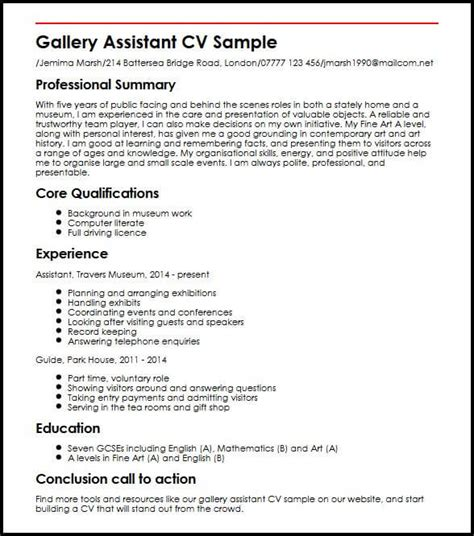 How To Do A Cv Template by Gallery Assistant Cv Sle Myperfectcv