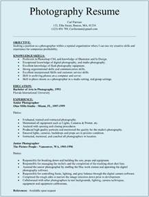 specimen resume for photographer resume sle sle resumes