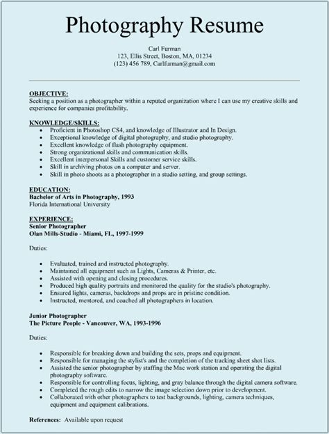 Resume For photographer resume sle sle resumes