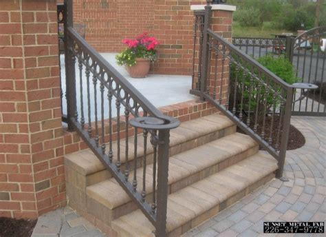 railings metal railing exterior iron wrought stair outdoor porch hand handrails handrail sunset steps step designs front decorative depot custom