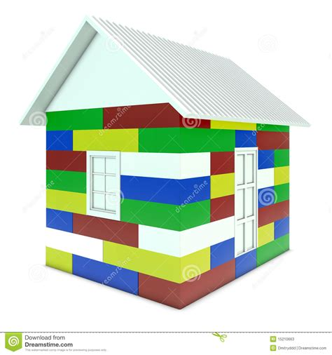 house made of blocks house made of colored children s blocks stock photos image 15210663