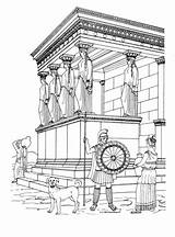 Coloring Pages Temple Erechtheion Greek Ancient History Greece Colouring Adult Printable Temples Kleurplaten Sightseeing Template αρχαία Para Culture Athens States sketch template