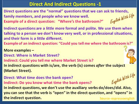 Direct And Indirect Questions  Vocabulary Home
