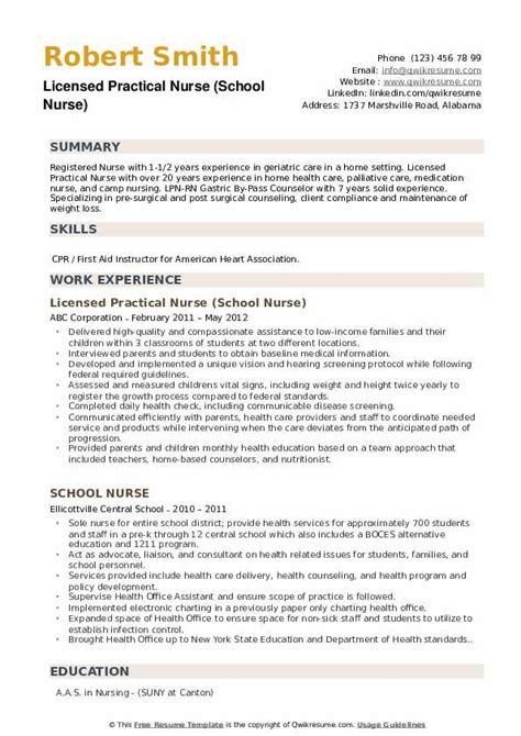 school nurse resume samples qwikresume
