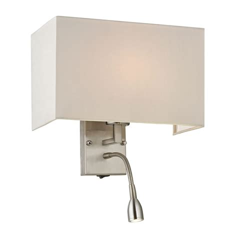 brushed nickel light switch modern led switched sconce wall light with white shade in