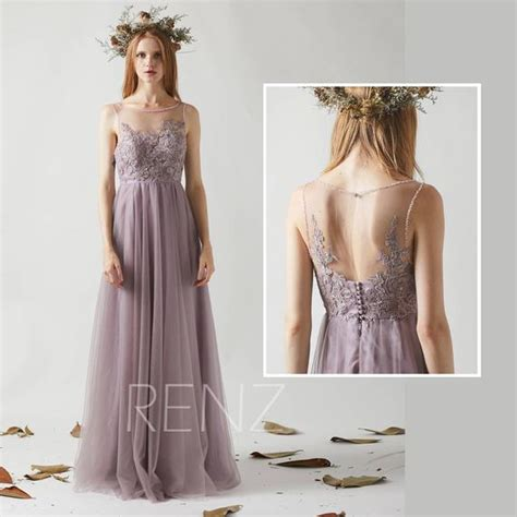 Bridesmaid Dress Dark Mauve Tulle Dressbeaded Boat Neck Party