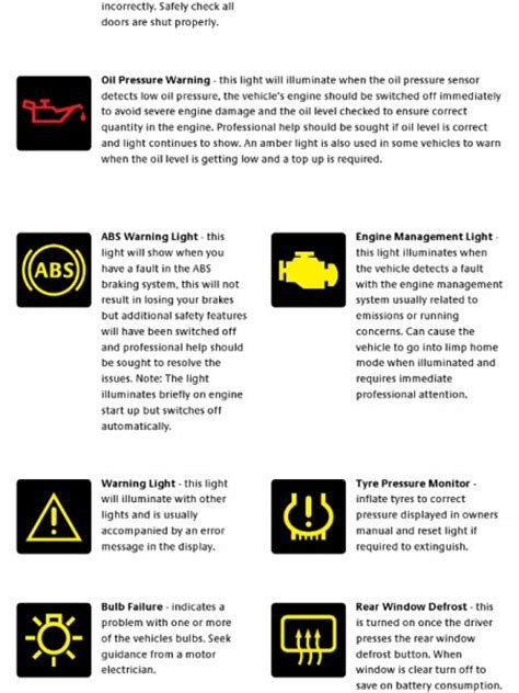 icons dashboard warning lights  cars images car