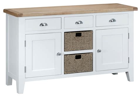 Sideboards With Baskets by Woodbridge Large White Sideboard With Baskets Fully