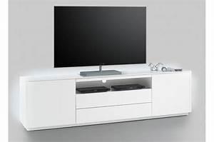 Meuble Tv Led Blanc Laqué : meuble tv led blanc laqu mat ~ Teatrodelosmanantiales.com Idées de Décoration
