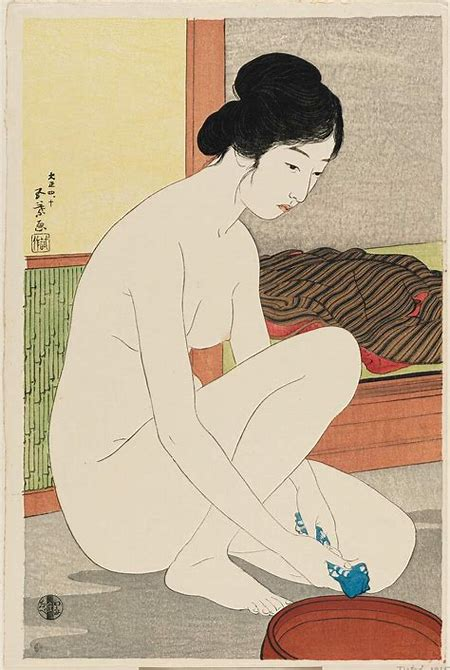 Hashiguchi Goyo: Nude Woman with Towel and Basin - Museum of Fine Arts - Ukiyo-e Search
