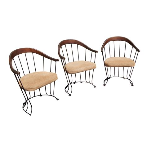 3 mid century modern wood and metal chairs with wire