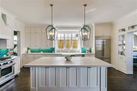 light teal kitchen light gray kitchen with teal hive tiles contemporary 3761
