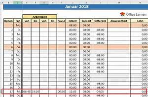 Feiertage Berechnen : stundenzettel 2018 mit soll ist berstunden urlaub und feiertage office ~ Themetempest.com Abrechnung