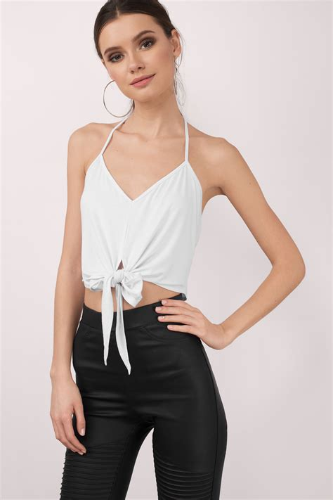 Cute White Crop Top  Front Tie Top  White Top White